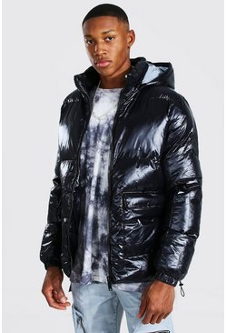 Black High Shine Patch Pocket Puffer With Reflective Hood