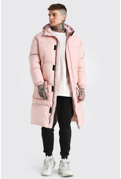 Pink 4 Pocket Longline Hooded Puffer
