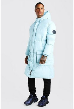 Light blue 4 Pocket Longline Hooded Puffer