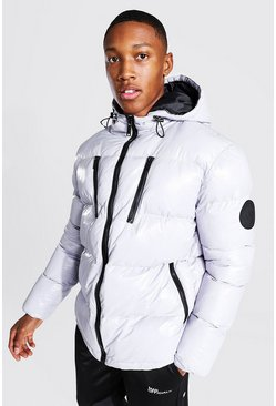 Grey High Shine 4 Pocket Wet Look Puffer