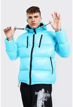 Aqua High Shine 4 Pocket Wet Look Puffer