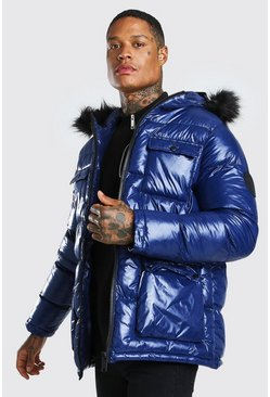 Navy High Shine 4 Pocket Fur Trim Hood Parka