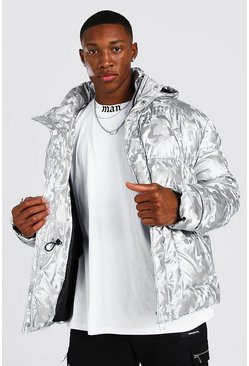 Silver Metallic Camo Funnel Neck Puffer