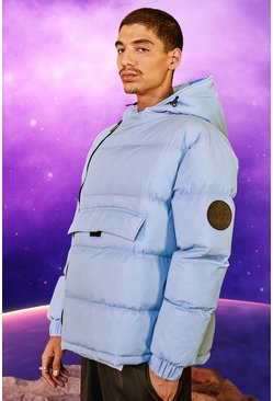 Light blue Front Pocket Side Zip Hooded Puffer