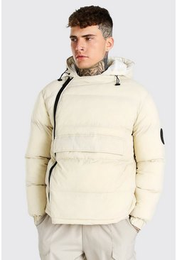 Off white Front Pocket Side Zip Hooded Puffer