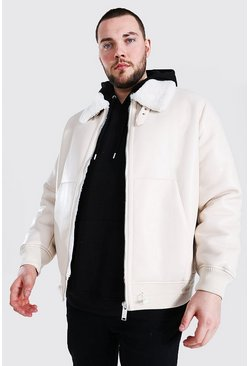 Cream Plus Size Leather Look Aviator Bomber Jacket