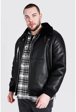 Black Plus Size Leather Look Aviator Bomber Jacket