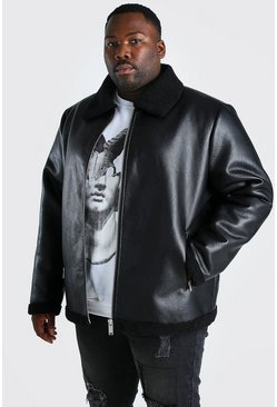 Big & Tall Pilotenjacke in Metallic-Lederoptik, Schwarz