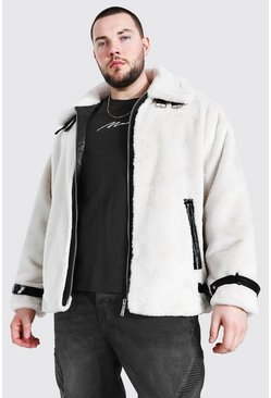 White Plus Size Faux Fur Leather Look Trim Aviator
