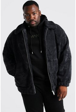 Big & Tall MAN Dash Borg-Bomberjacke, Anthrazit