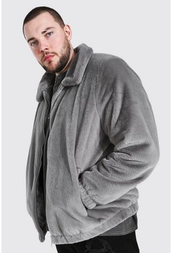 Grey Plus Size Faux Fur Collared Bomber Jacket