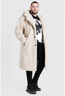 Stone Plus Size Borg Hooded Longline Jacket