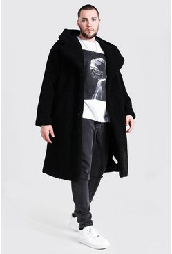 Black Plus Size Borg Hooded Longline Jacket