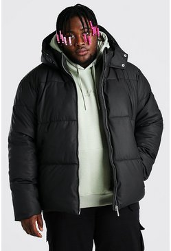 Black Plus Size Matte Finish Hooded Puffer