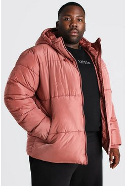 Clay Plus Size Hooded Toggle Detail Puffer