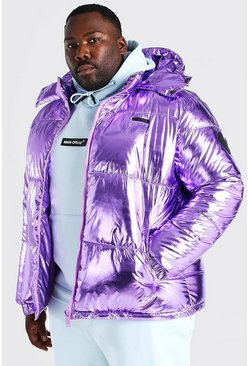 Lilac Plus Size Metallic Funnel Hooded Puffer