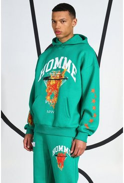 Tall Homme Flames Hoodie, Green