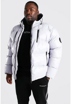 Grey Plus Size High Shine Wet Look Puffer