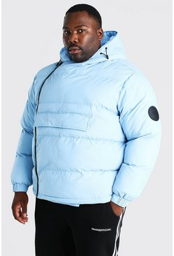 Light blue Plus Size Front Pocket Side Zip Puffer
