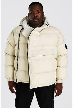 Off white Plus Size Front Pocket Side Zip Puffer
