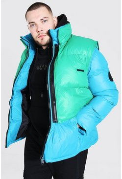 Blue Plus Size Puffer With Detachable Gilet
