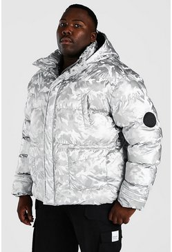 Big & Tall Camo-Puffer in Metallic-Optik mit Trichterkragen, Silber