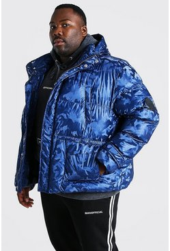 Big & Tall Camo-Puffer in Metallic-Optik mit Trichterkragen, Marineblau