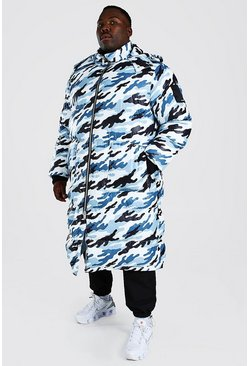 Big And Tall - Doudoune coupe longue imprimé camouflage, Bleu