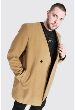 Camel Plus Size Smart Collarless 2 Button Overcoat