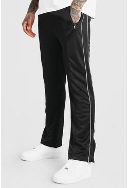 Black Skinny Fit Tricot Joggers With Side Panel