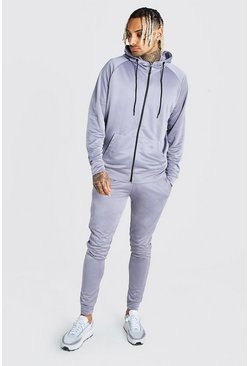 Grey Tricot Zip Through Hooded Tracksuit