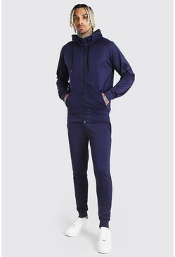 Navy Tricot Zip Through Hooded Tracksuits