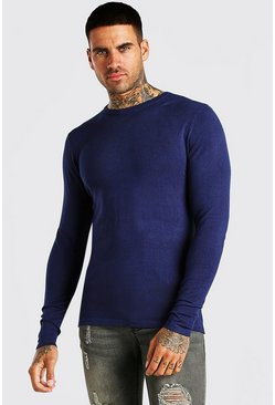 Navy Muscle Fit Crew Neck Sweater