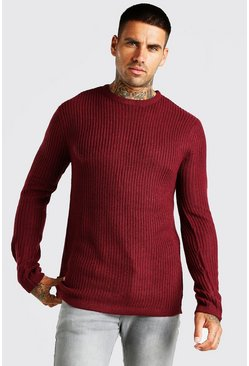 Burgundy Crew Neck Fisherman Rib Jumper