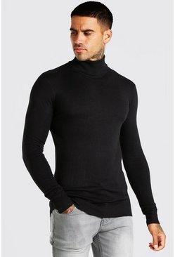 Black Muscle Fit Turtleneck Sweater