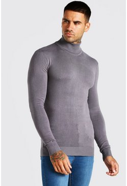 Charcoal Muscle Fit Roll Neck Sweater