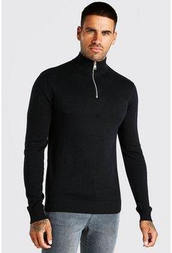 Black Half Zip Funnel Neck Sweater