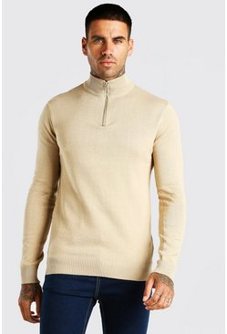 Stone Half Zip Funnel Neck Jumper