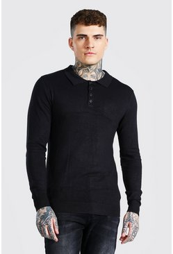 Black Long Sleeve Knitted Polo