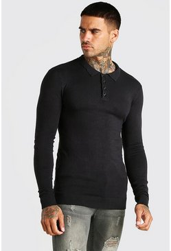 Black Muscle Fit Long Sleeve Knitted Polo