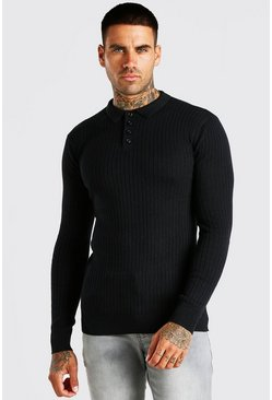 Black Long Sleeve Muscle Fit Ribbed Knit Polo