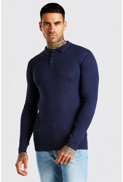 Navy Long Sleeve Muscle Fit Ribbed Knit Polo