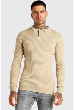Camel Long Sleeve Muscle Fit Ribbed Knit Polo