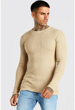 Camel Muscle Fit Cable Knit Sweater