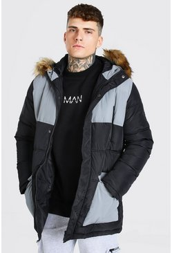 Black Reflective Panel Fur Trim Parka