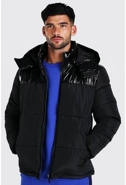 Black High Shine Panel Hooded Puffer