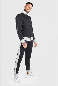 Black Contrast Funnel Neck Zip Through Tracksuit