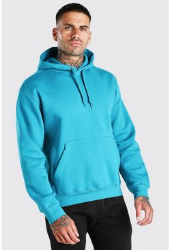 Teal Oversized Basic Over The Head Hoodie