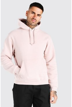Pale pink Basic Over The Head Fleece Hoodie