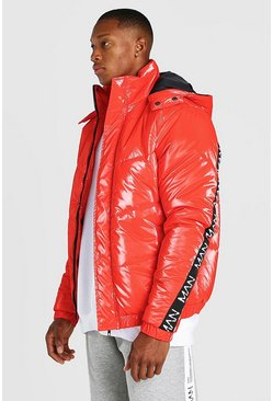 Red Man Dash Branded Back Detail High Shine Hooded Puffer